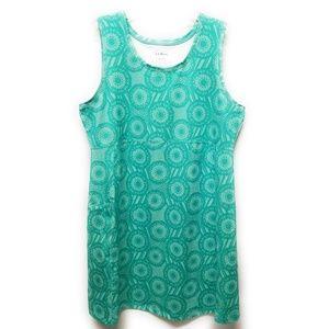 LL BEAN Womens Teal Geometric Print Swim Dress XL